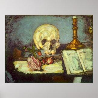 Poster Crâne toujours de la vie W, bougie, livre par Paul