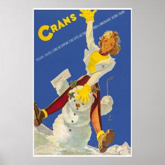 Poster Crans - le Montana, Suisse, affiche de voyage de