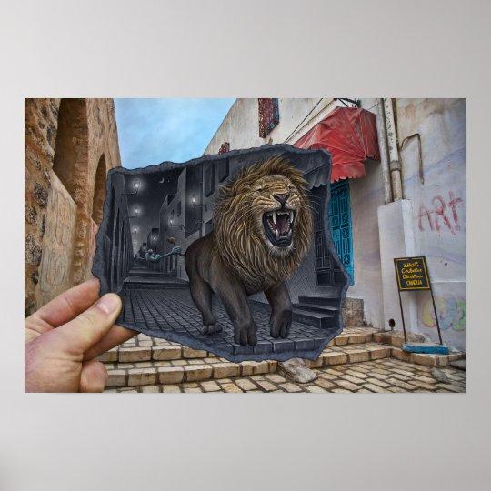 poster crayon contre l 39 appareil photo lion puissant. Black Bedroom Furniture Sets. Home Design Ideas