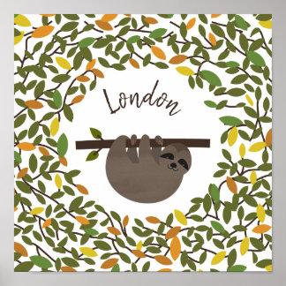 Poster Crèche de bébé de verdure d'automne de paresse de