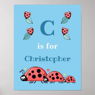Poster Crèche de bleu de nom d'alphabet de coccinelles
