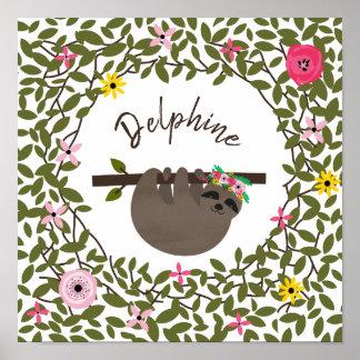 Poster Crèche florale de bébé de verdure de paresse de