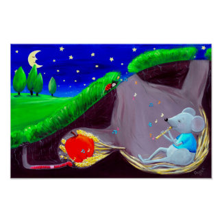 Poster Crèche mignonne de souris de champ de la mélodie |