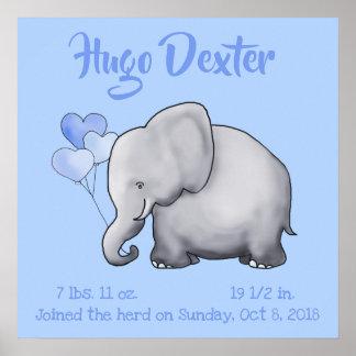 Poster Crèche mignonne personnalisée d'éléphant de stat