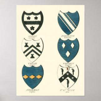 Poster Crêtes de famille de diverses Chambres anglaises