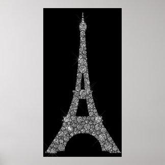 Poster Cristaux Paris de Swarovski de gris argenté de