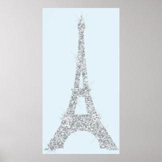Poster Cristaux Paris de Swarovski de gris bleu de Tour