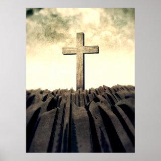 Poster Croix chrétienne sur la montagne