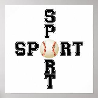 Poster Croix fraîche de base-ball de sport