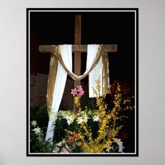 Poster Croix vide de Pâques de la résurrection de Jésus