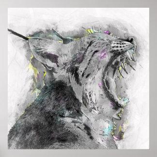 Poster Croquis de baîllement de chat sauvage