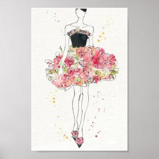 Poster Croquis fascinant sauvage de robe florale d'Apple