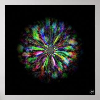 Poster Croquis psychédélique coloré d'une fleur