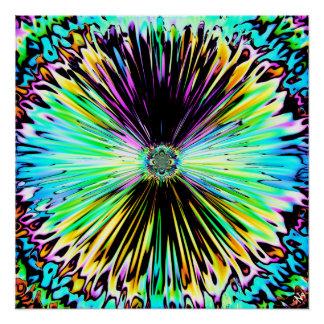 Poster Croquis psychédélique coloré d'une fleur 3