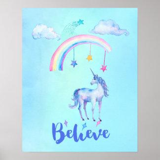 Poster Croyez avec une licorne sous un arc-en-ciel