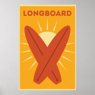 Poster Cru hawaïen de planche de surf de Longboard rétro