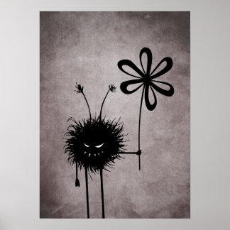 Poster Cru mauvais d'insecte de fleur