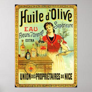 Poster Cuisine vintage d'huile d'olive de Vieux Monde
