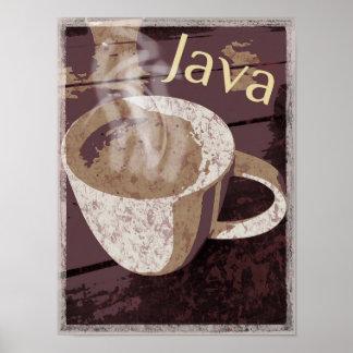 Poster Cuisson à la vapeur de la tasse rustique de Java