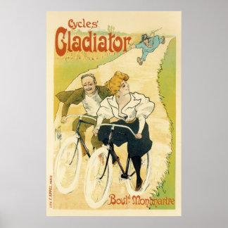 Poster Cycle vintage de gladiateur de bicyclette de