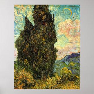 Poster Cyprès de Van Gogh, beaux-arts vintages de paysage