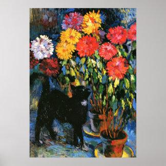 Poster Dahlias et chat noir, peinture de beaux-arts