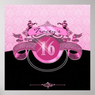 Poster Damassé rose de sweet sixteen