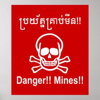 Poster Danger ! ! Mines ! ! ☠ cambodgien de signe de