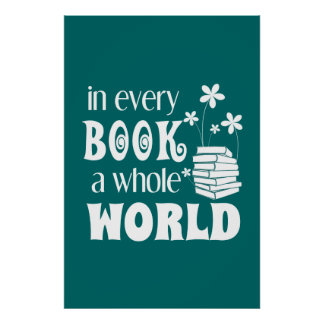 Poster Dans chaque livre une affiche entière du monde