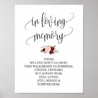 Poster Dans la mémoire affectueuse épousant le signe