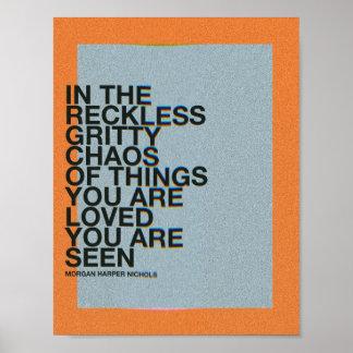 Poster Dans le chaos graveleux imprudent des choses vous