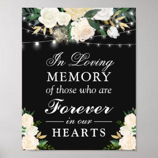 Poster Dans le signe floral blanc en ivoire de mariage de