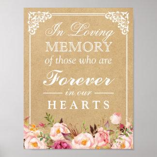 Poster Dans le signe floral de mariage de Papier