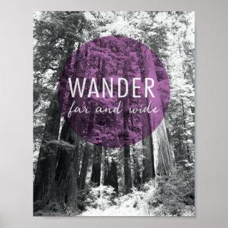 Poster Dans les bois | errent très loin citation
