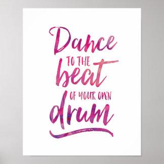 Poster Danse à l'affiche de typographie d'aquarelle de