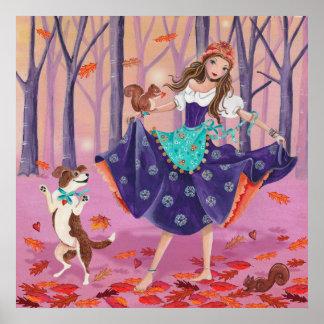 Poster Danse avec le feuille - affiche