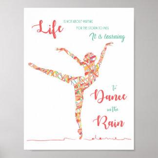 Poster Danse dans l'affiche de pluie