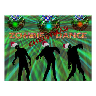 Poster Danse de disco de Noël de zombi
