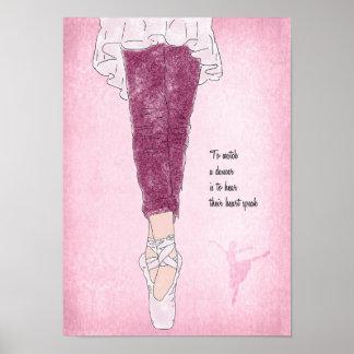 Poster Danseuse de ballerine sur Pointe dans le rose