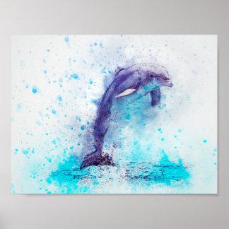 Poster Dauphin de médias de mélange d'aquarelle