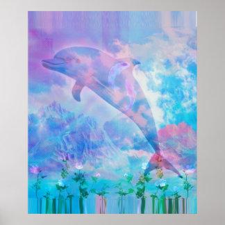 Poster Dauphin de Vaporwave dans le ciel