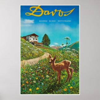 Poster Davos, Parsenn, Suisse, affiche de ski