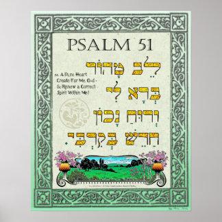 Poster ~ de 51:12 de psaume hébreu, anglais, et