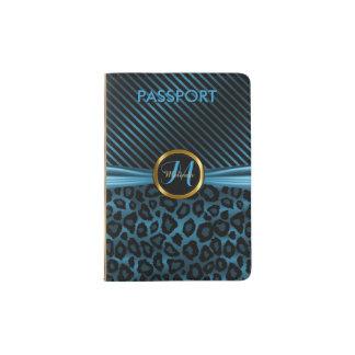 Poster de animal bleu de léopard - monogramme protège-passeports