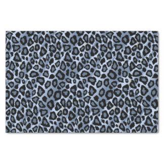 Poster de animal bleu et noir de léopard papier mousseline