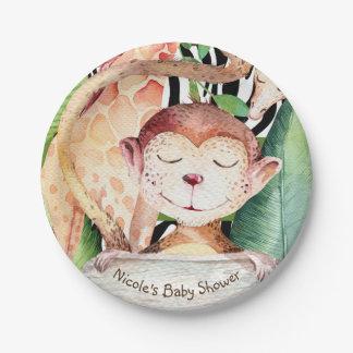 Poster de animal de baby shower de singe et de assiettes en papier