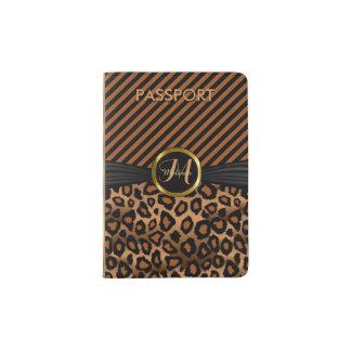 Poster de animal de léopard de Brown - monogramme Protège-passeport