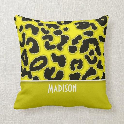 Poster de animal de léopard de jaune de cadmium ;  oreillers
