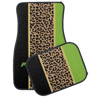 Poster de animal de léopard de vert et de noir de tapis de sol
