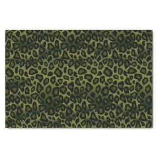Poster de animal de léopard de vert olive et de papier mousseline